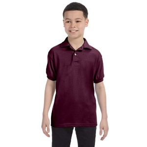 Hanes 054Y Youth 5.2 oz., 50/50 EcoSmart® Jersey Knit Polo Thumbnail