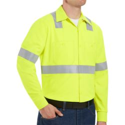 Red Kap SS14HV High Visibility Safety Long Sleeve Work Shirt Thumbnail