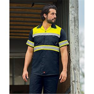 Red Kap SY80 Hi-Visibility Colorblock Ripstop Short Sleeve Work Shirt Thumbnail