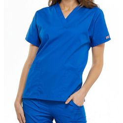 Cherokee Style 4100 Women's Bottom-Patch Pocket Scrub Top With Barry University Logo Thumbnail
