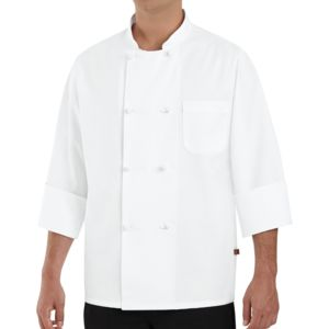 Chef Designs 0411 Cloth Eight Cloth Knot Button Chef Coat Thumbnail