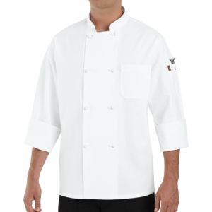 Chef Designs 0414 Eight Cloth Knot Button Chef Coat with Thermometer Pocket Thumbnail
